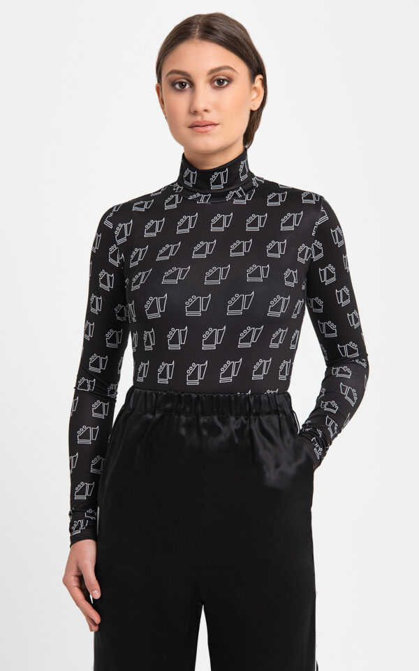 Black printed neck top